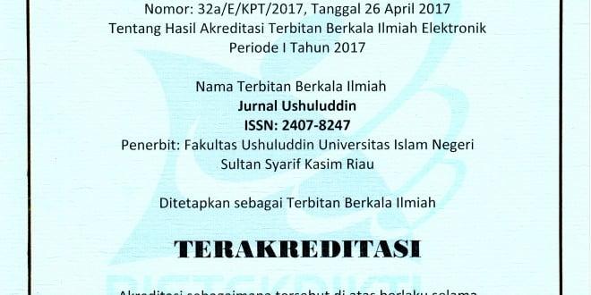 Sertifikat Akreditasi Junal Ushuluddin 2017-2022