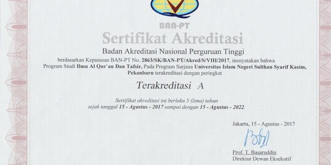 Sertifikat Akreditasi IAT