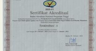 Sertifikat Akreditasi SAA nilai A